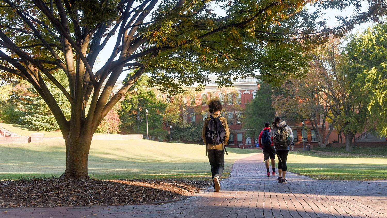 Students walk across the Court of North Carolina