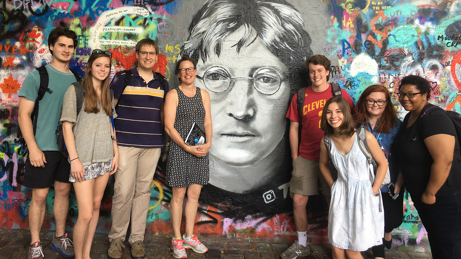 Students pose on a study abroad trip in Prague