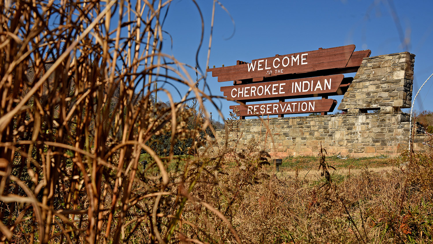 Welcome sign at the Cherokee Indian Reservation