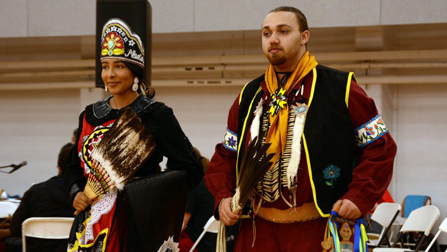 students wearing apparel that represents Native American heritage