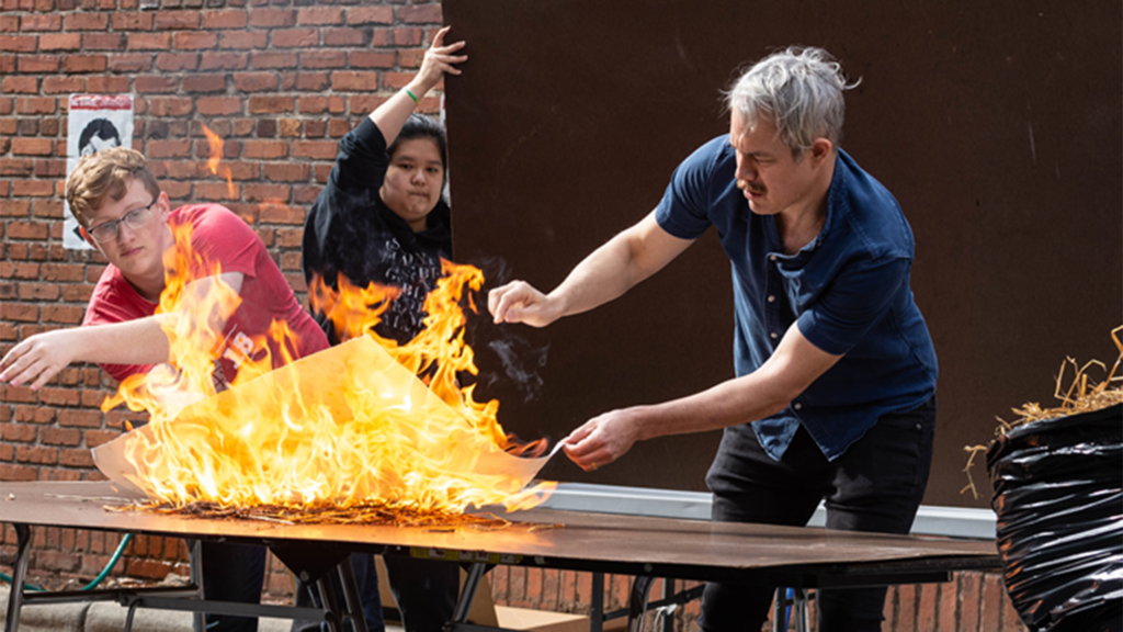 fire demonstration on table